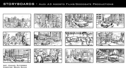 Audi A3, production storyboard frames - Agosto Films/Goodgate Productions