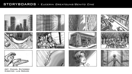 Eucerin, production storyboard frames - Greatguns/Benito Cine