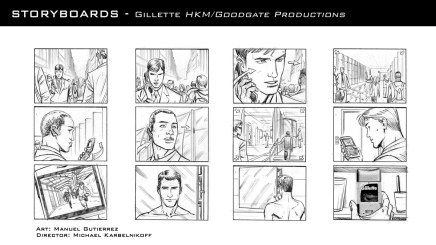 Gillette, production storyboard frames - HKM/Goodgate Productions