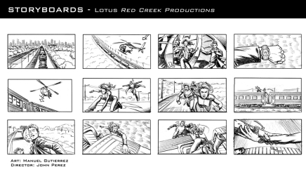 Lotus, production storyboard frames - Red Creek Productions