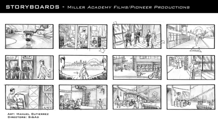 Miller, production storyboard frames - Academy Films/Pioneer Productions