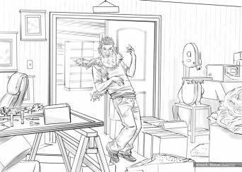 Hallmark, Birthday Fail Guys night out, BW storyboard frame 2