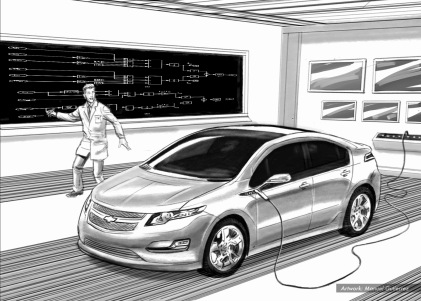 Chevy Volt, Dreams Lab, BW storyboard frame