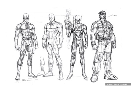 "Daredevil ""The Trial Of The Century"" characters studies. DD, White Tiger, Iron Fist & Luke Cage. Pencils."