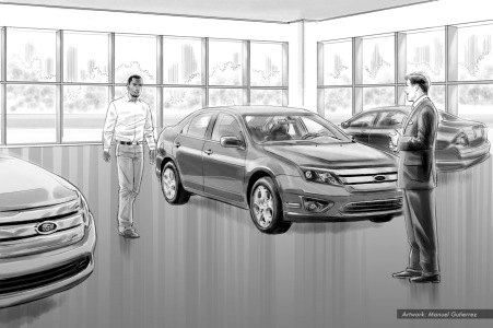 Jorgensen Ford, Are you Jorge?, BW storyboard frame - DMC Worldwide Advertising