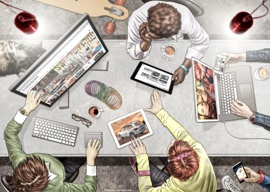 HI Road Productions, website background illustration