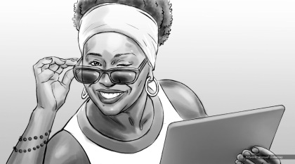 Jenifer Lewis, Worldly Woman, BW storyboard frame 3 - Sanders/Wingo