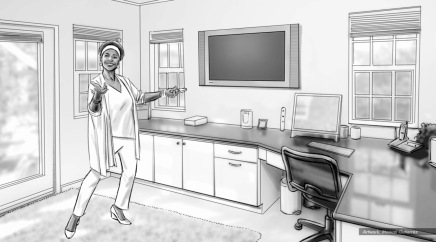 Jenifer Lewis, Worldly Woman, BW storyboard frame 4 - Sanders/Wingo