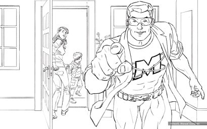 "Mr Muscle, Touch-Up ""Rewind"" BW storyboard frame 6 - Ogilvy"