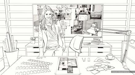 Nestle, Design Hands, BW storyboard frame 1 - Casanova