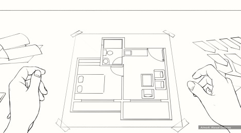 Nestle, Design Hands, BW storyboard frame 2 - Casanova