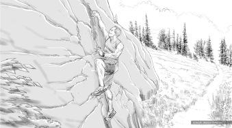 One A Day, climbing, BW storyboard frame - Energy BBDO