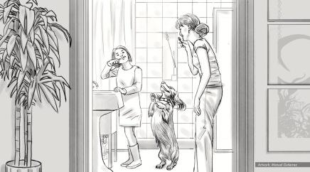 Petsmart, healthy life, BW storyboard frame 3 - Bernstein-Rein