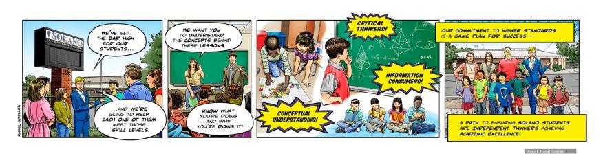 Learning Hero, Solano Elementary School, comic strip