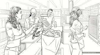 Vitacraves, Cashier, BW storyboard frame 4 - Energy BBDO
